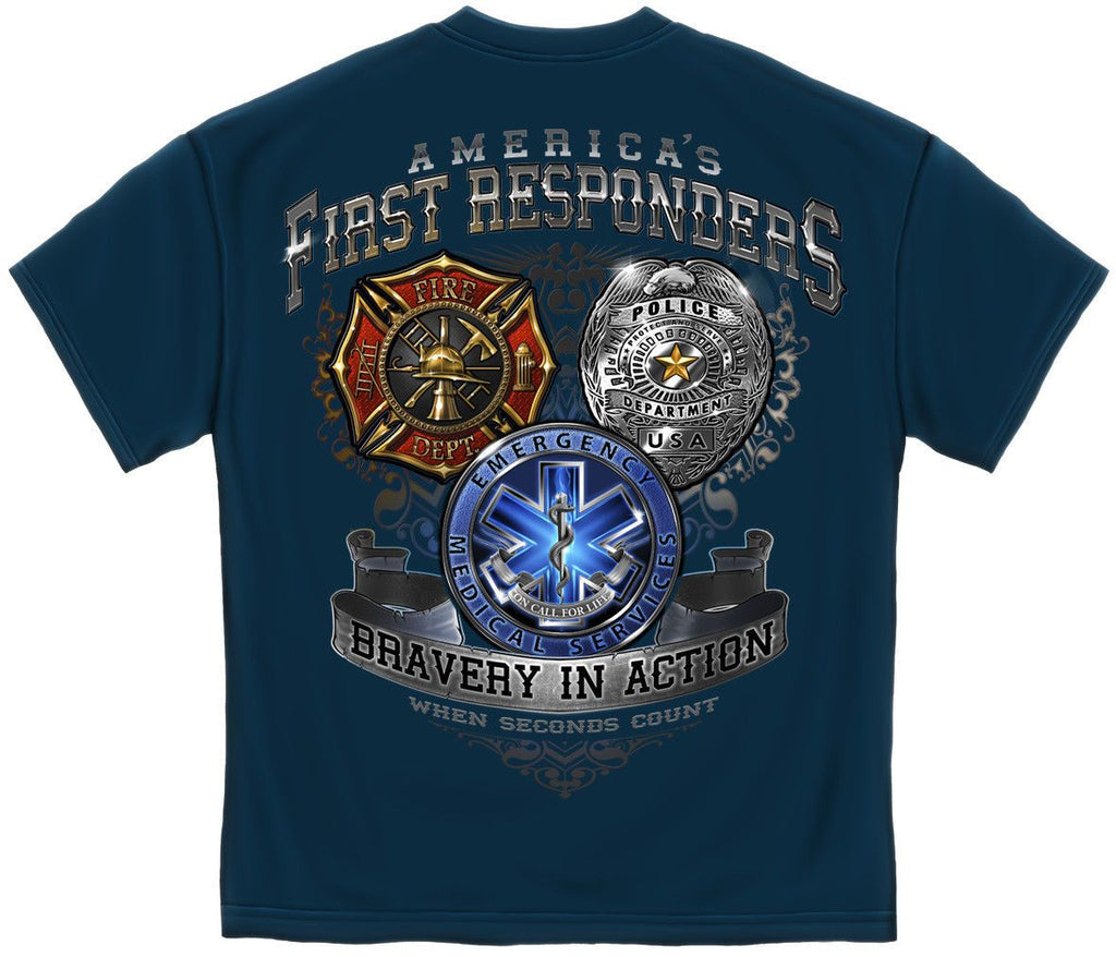 Erazor Bits T-Shirt America's First Responders Fire Department Police EMS Brave