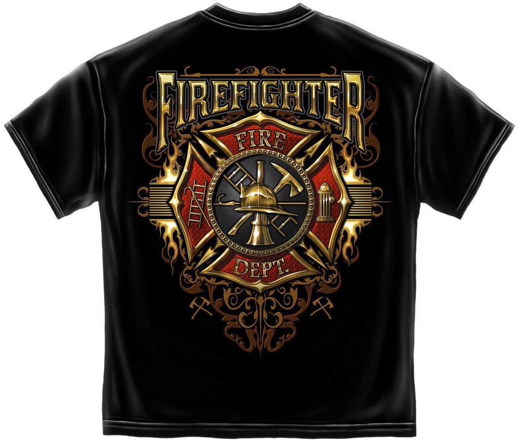 Erazor Bits T-Shirt Fire Fighters Gold Flames