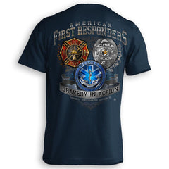 America's First Responders Fire Department Police EMS Support Heroes T-Shirt