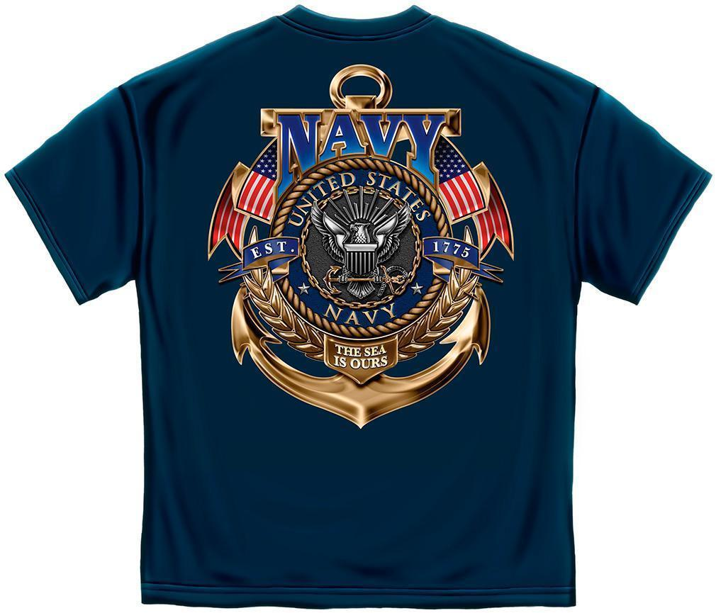 Erazor Bits T-Shirt - United States Navy Logo - Sea Is Ours - 1775 - Navy
