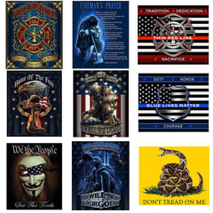 Throw Blanket Patriotic Gifts USA Flag Military Soldier Firefighter Police Veterans