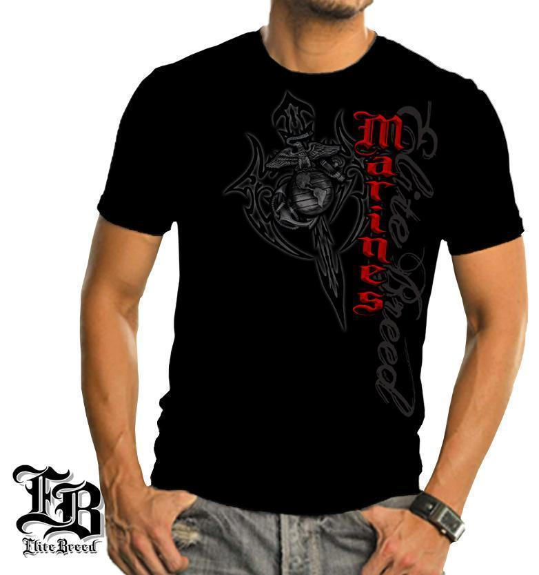 Erazor Bits T-Shirt - Elite Breed - United States Marine Corps - USMC Axes Red T