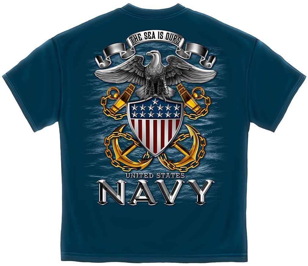 Erazor Bits T-Shirt - United States Navy - The Sea is Ours - Eagle - Navy