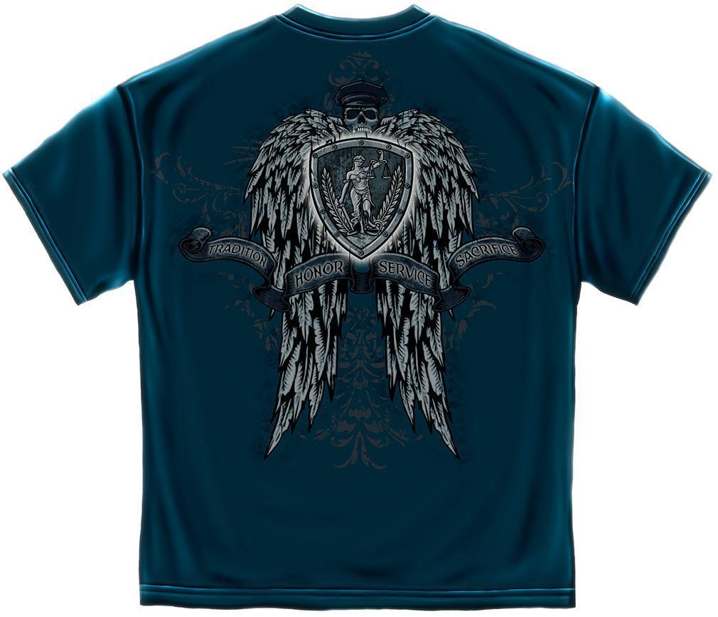 Erazor Bits T-Shirt - Law Enforcement - Skull Wing - Tradition, Honor, Service,