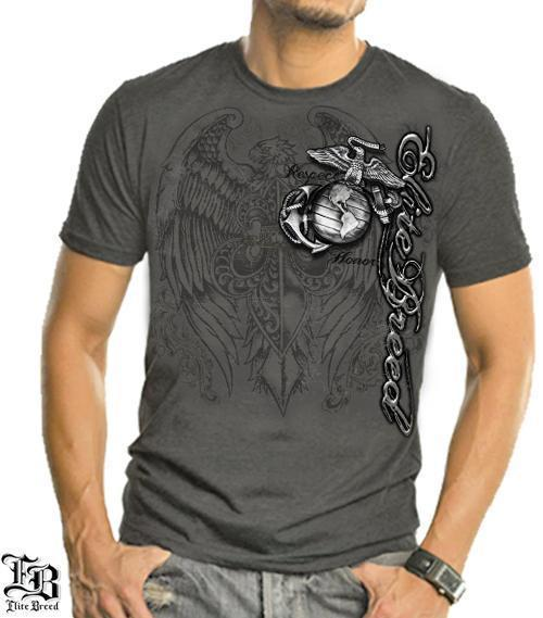 Erazor Bits T-Shirt - Elite Breed - United States Marine Corps - USMC Gray Eagle