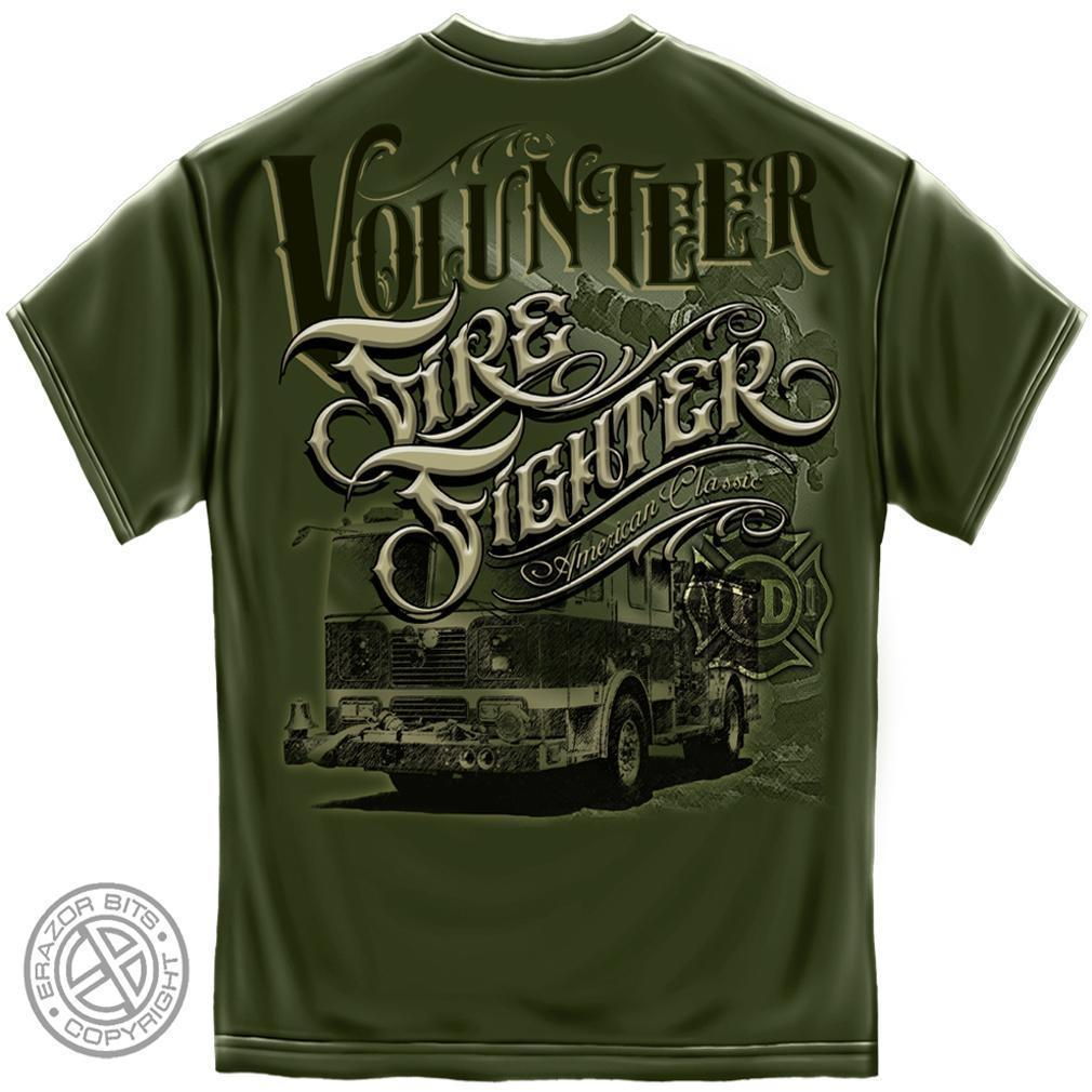 Erazor Bits T-Shirt - Volunteer Firefighter - American Classic - Military Green