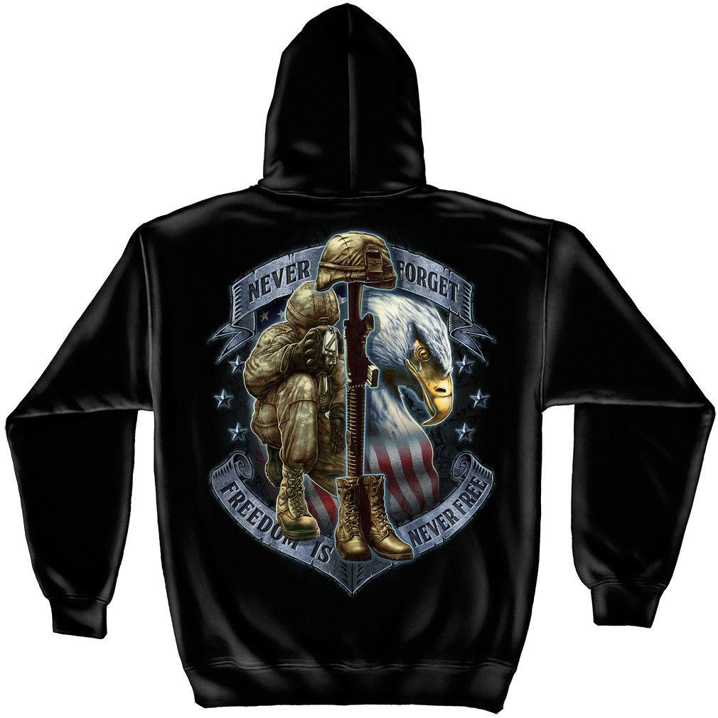 Never Forget Freedom is Never Free Patriotic Soldiers Hooded Sweatshirt
