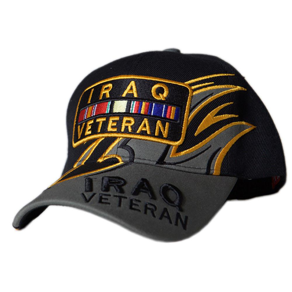 US Honor Embroidered Shark Fin Iraq Veteran Bar Baseball Caps Hats