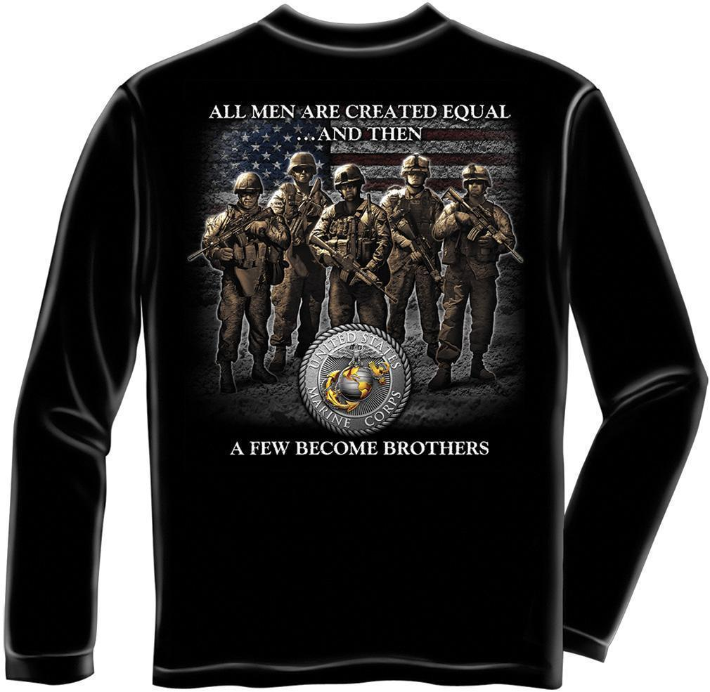 Erazor Bits Long Sleeve T-Shirt - USMC - Marine Corps - Brotherhood - Black