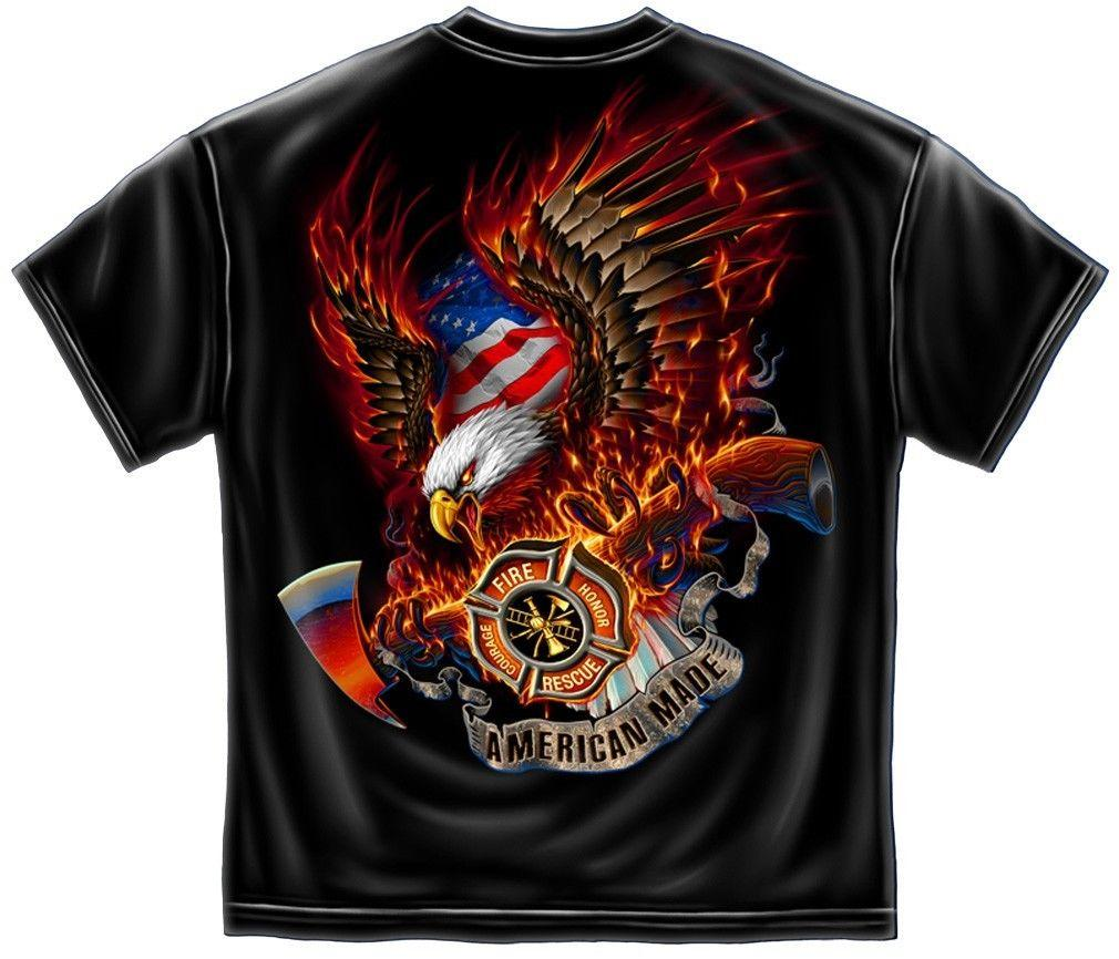 Erazor Bits T-Shirt - Fire Fighter -Patriotic Fire Eagle -  Black