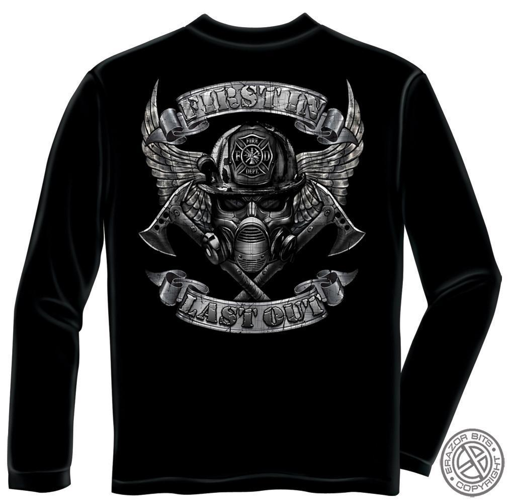 Erazor Bits Long Sleeve T-Shirt - Fire Fighter - FireFighter Steel Fire Wings Wi