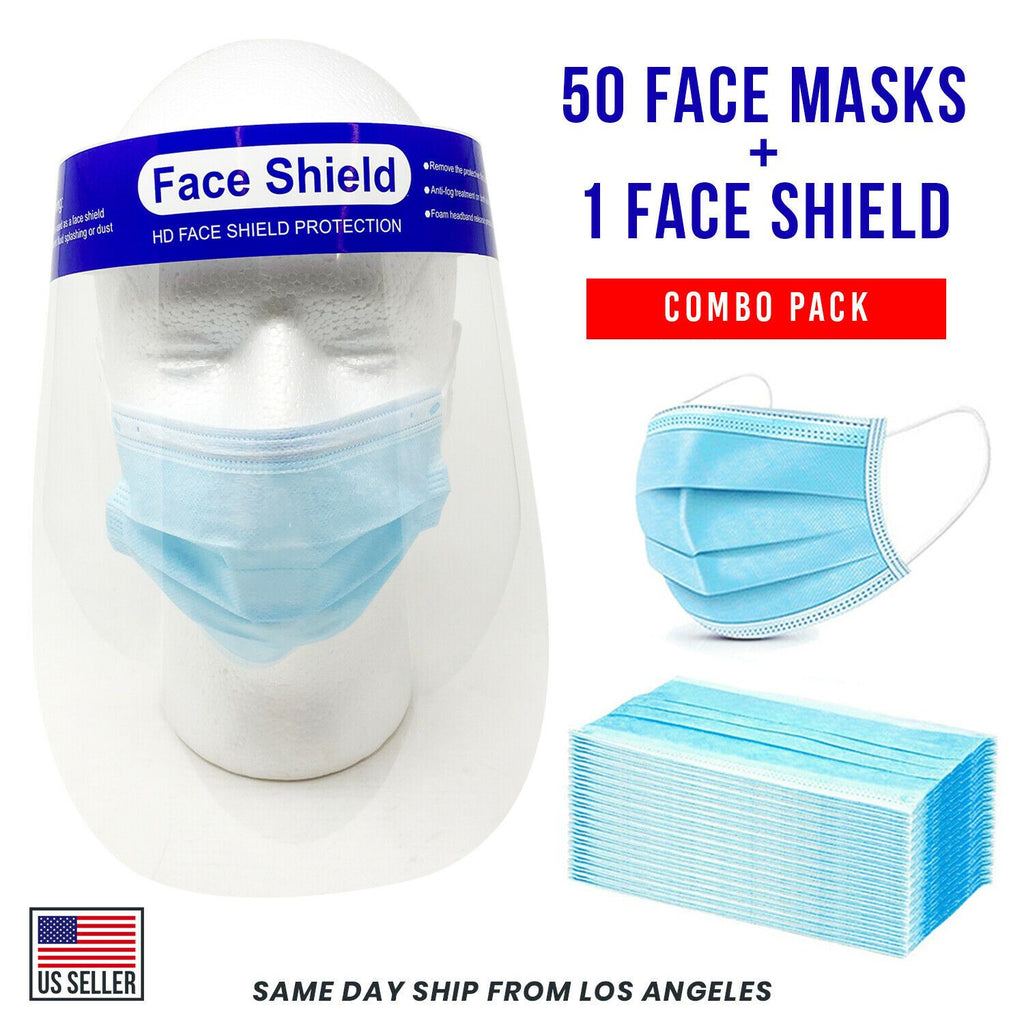 [Combo Pack] 50 Face Mask and 1 Face Shield Blue 3-Ply Mouth Nose Cover