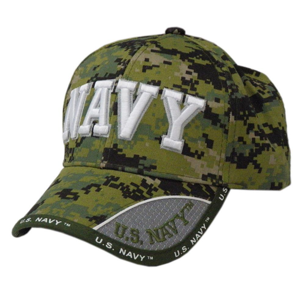 US Honor Embroidered Digital Camo Pixel Navy Text Baseball Caps Hats