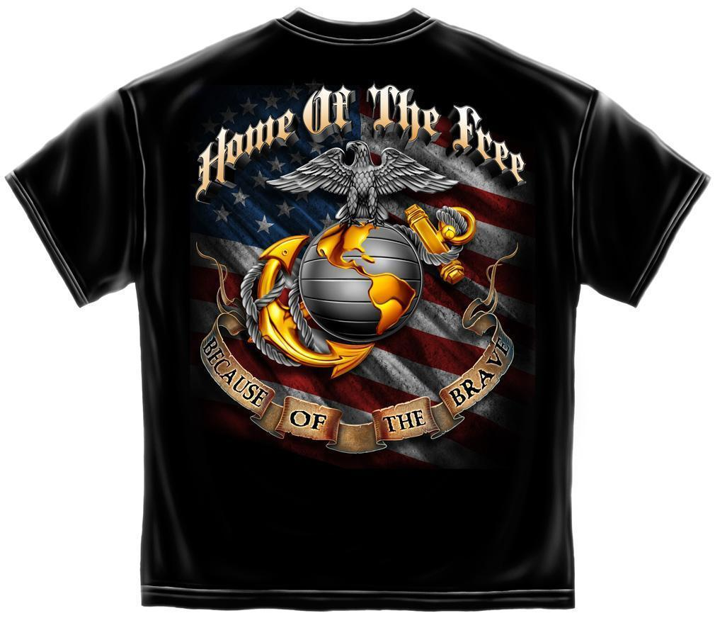 Erazor Bits T-Shirt - USMC - Home of the Free Because of the Brave - Black