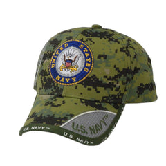 US Honor Embroidered Digital Pixel Camo Navy Round Logo Baseball Caps Hats