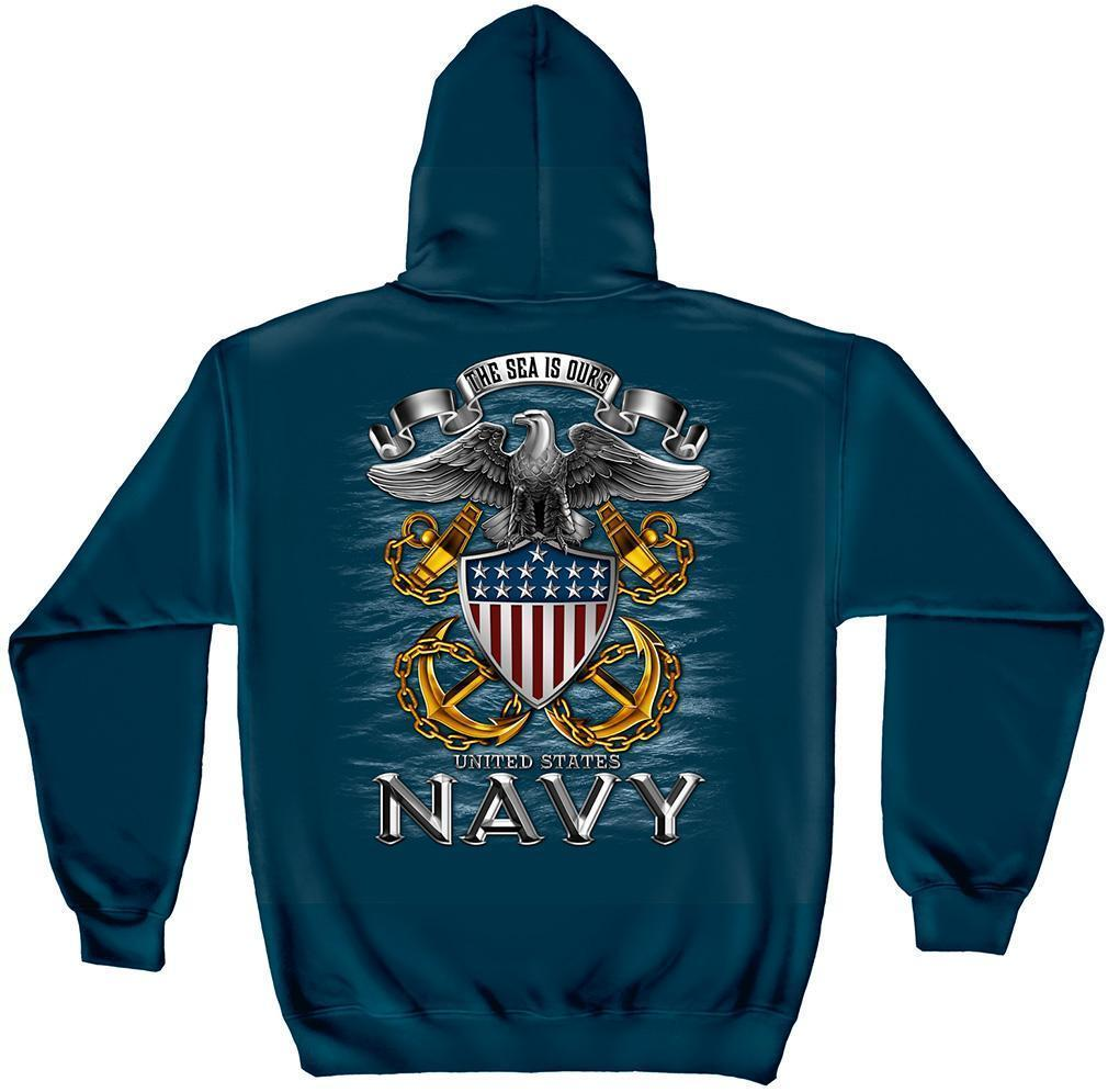 Erazor Bits Sweatshirt Hoodie-  United States Navy -The Sea is Ours - Navy