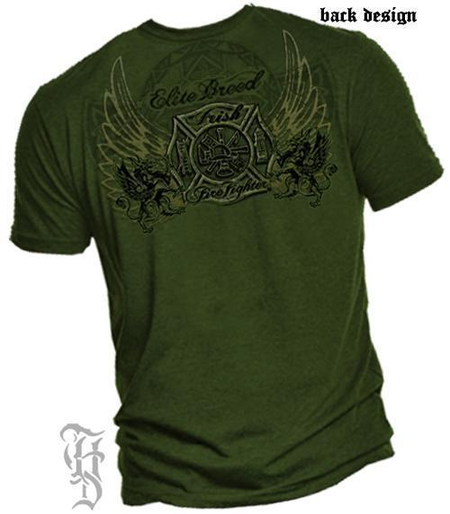Erazor Bits T-Shirt - Elite Breed - Irish Fire Fighter - Military Green