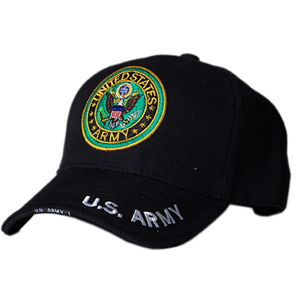 US Honor Official HD Army Round Logo Black Embroidered Baseball Caps Hats