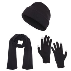 Casaba 3 Piece Winter Set Cuff Beanie Hat Scarf Touchscreen Gloves for Men Women