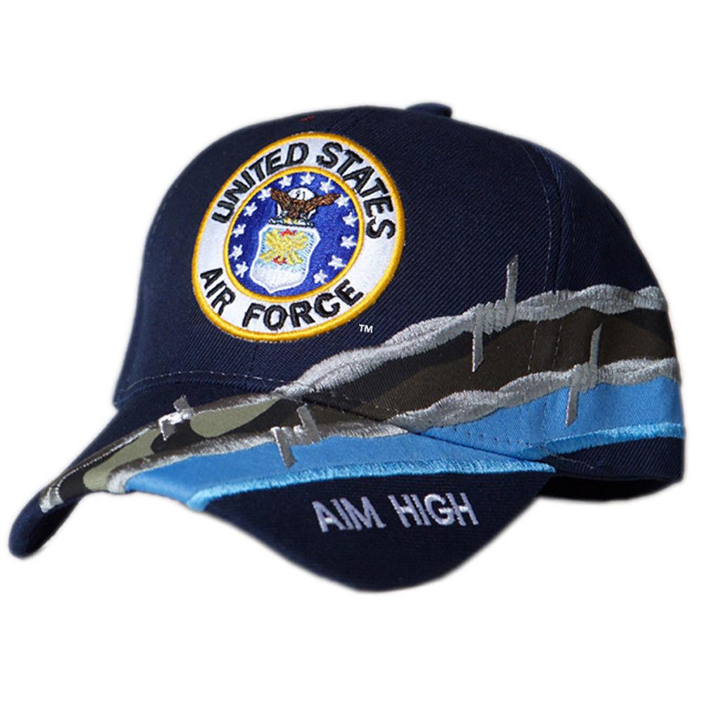 US Honor Embroidered Barbed Wire Air Force Round Logo Baseball Caps Hats