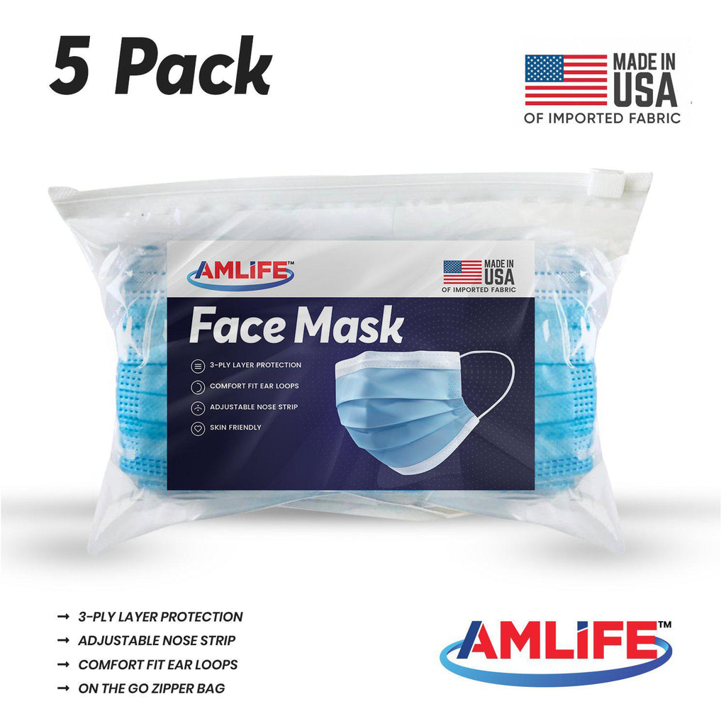 Amlife 5 Pack Face Mask Protective Covering Blue 3-Ply Layer Made in USA Imported Fabric