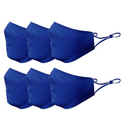 6 Pack Blue Cotton Face Mask Cloth Masks for Mouth Nose Washable Reusable Double Layer Covering Adjustable Ear