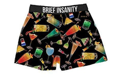 Brief Insanity Cocktails Five O'clock Happy Hour Silky Boxer Shorts Gifts for Men Women