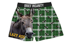 Brief Insanity Lazy A Silky Funny Boxer Shorts Gifts for Men Women