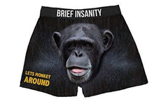 Brief Insanity Let's Monkey Around Silky Funny Boxer Shorts Gifts for Men Women