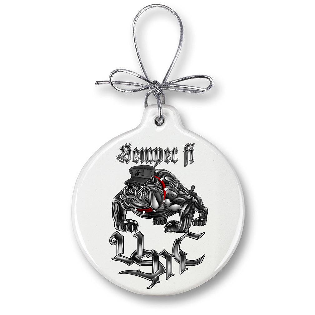 USMC Marine Corps Sempri Fi Chrome Dog Christmas Tree Ornaments