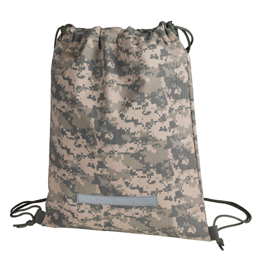 1 Dozen Drawstrings Bag Camo Camouflage Rucksack Backpack With Reflective Strip Army Military Wholesale Bulk