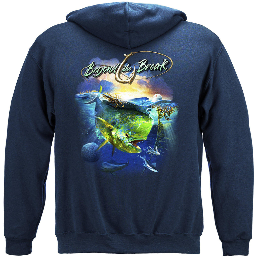 Mahi Dolphin Fish Beyond The Break Premium Fishing Hoodie Sweatshirt