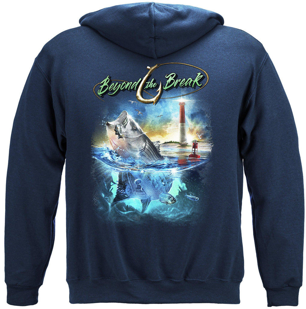 Striped Bass Fish Beyond The Break Premium Fishing Hoodie Sweatshirt