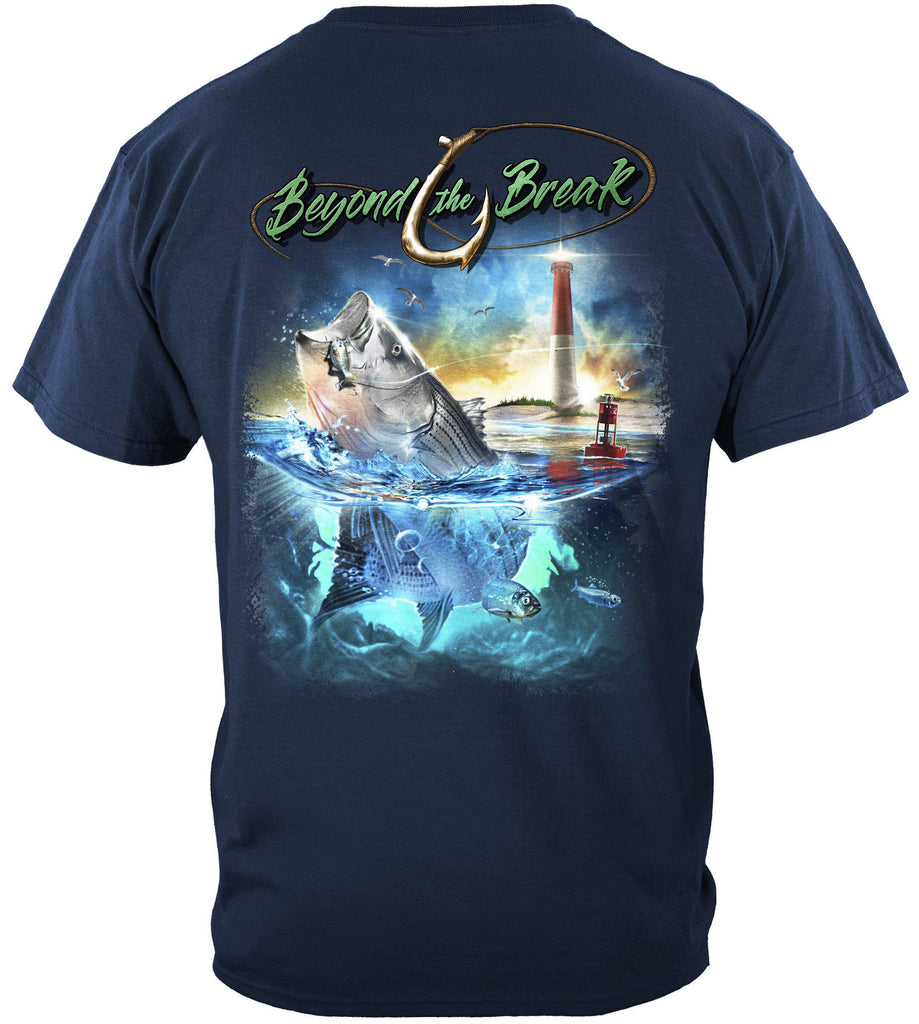 Striped Bass Fish Beyond The Break Premium Fishing T-Shirt