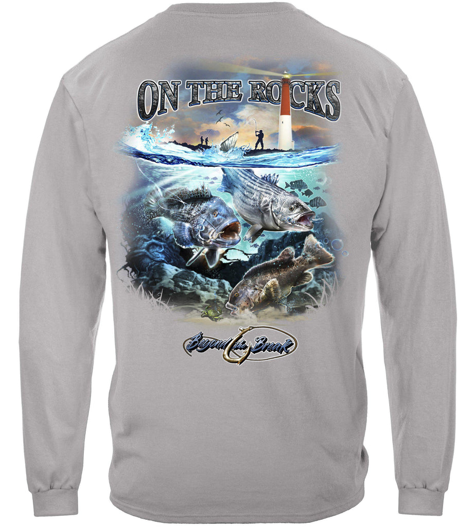 On the Rocks Striped Bass Sea Bass Black Fish Premium Fishing Long Sleeve T-Shirt