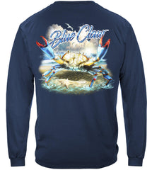 Blue Claw Crab In Your Face Premium Fishing Long Sleeve T-Shirt