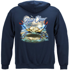 Blue Claw Crab In Your Face Premium Fishing Hoodie Sweatshirt