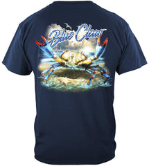 Blue Claw Crab In Your Face Premium Fishing T-Shirt