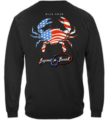 Patriotic Blue Claw Crab Premium Fishing Long Sleeve T-Shirt