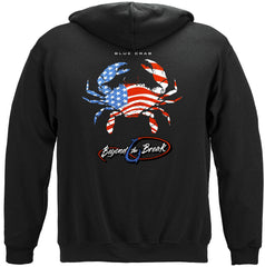 Patriotic Blue Claw Crab Premium Fishing Hoodie Sweatshirt