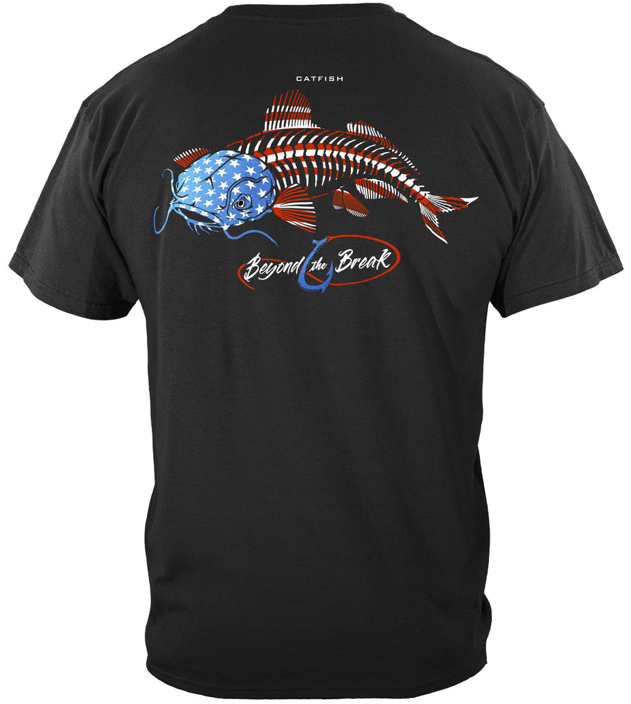 Patriotic Catfish Premium Fishing T-Shirt