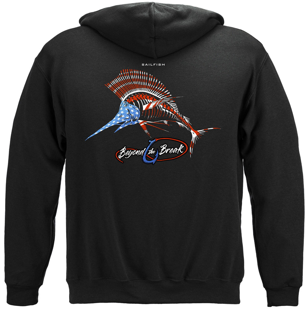Patriotic SailFish Premium Fishing Hoodie Sweatshirt