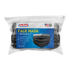 AMLIFE 50 Pack Black Face Masks 3-Ply Filter - Made in USA with Imported Fabric