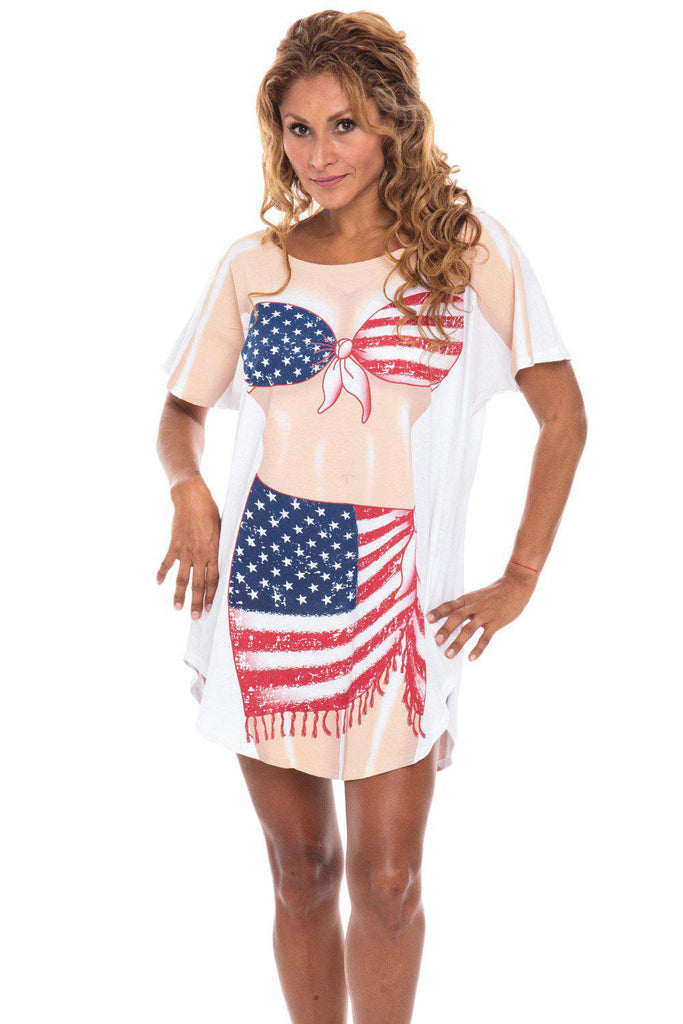 USA Flag Sarong Cotton Cover Up for Women Beach Summer Swimwear Bikini Maternity Dress Plus Size Cover-Ups Cute T-Shirts Made in USA by Fun2Wear