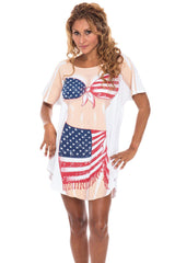 USA Flag Sarong Cotton Cover Up for Women Beach Summer Swimwear Bikini Maternity Dress Plus Size T-Shirts Made in USA