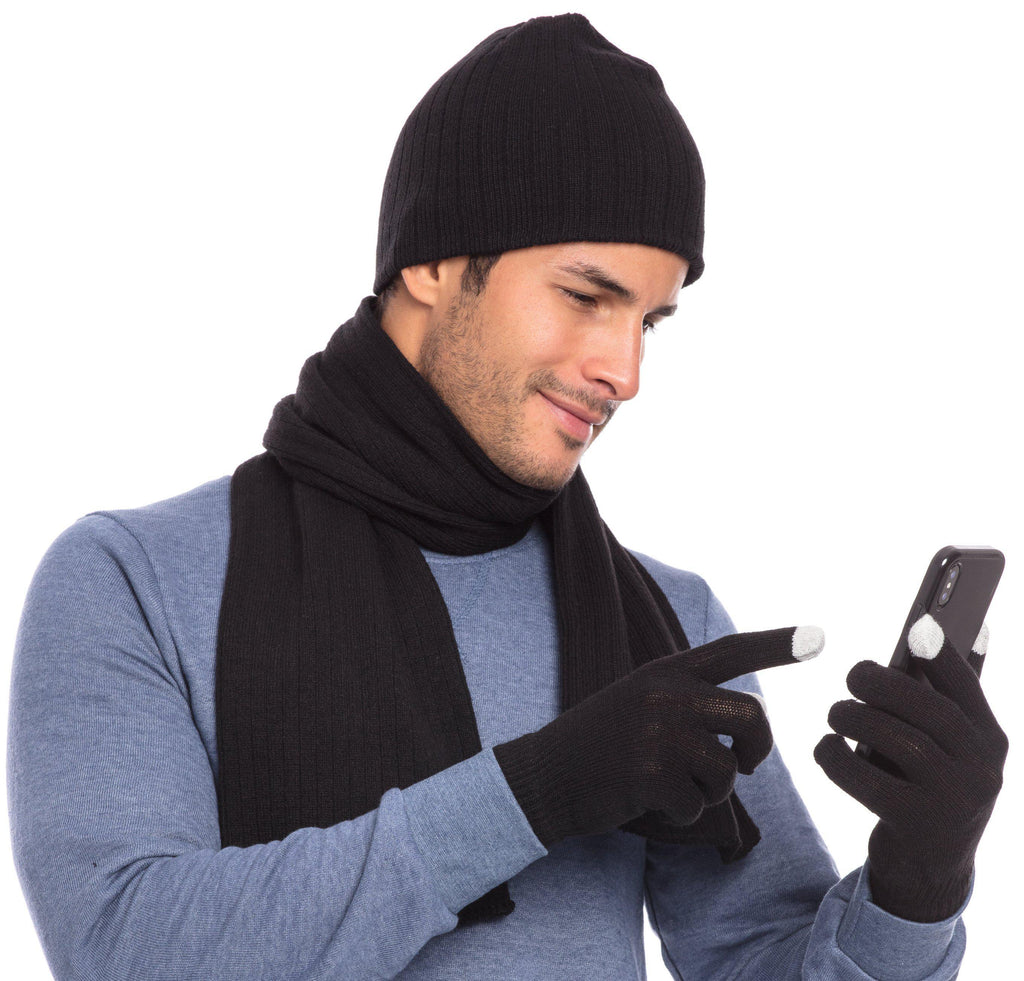 Casaba Winter 3 Piece Set Beanie Hat Scarf Touchscreen Gloves Cable Knit for Men Women
