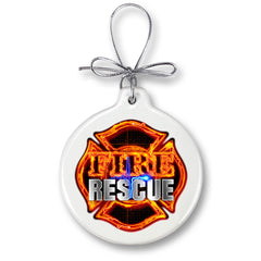 Firefighter Fire Rescue Christmas Tree Ornaments