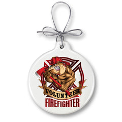 Firefighter Volunteer Dog Christmas Tree Ornaments