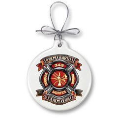 Firefighter Honor Courage Sacrifice 343 Badge Christmas Tree Ornaments