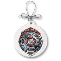 Firefighter Honor Service Sacrifice Chrome Badge Christmas Tree Ornaments